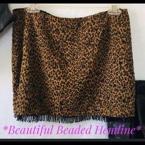 """Lk NEW Guess Leopard Beaded Skirt 30"""" waist"""